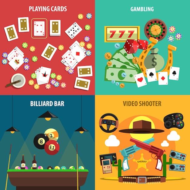 Jogando jogos banners set Vetor grátis