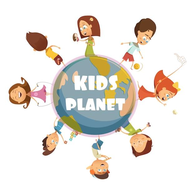 Jogando o conceito de crianças dos desenhos animados com ilustração em vetor crianças planeta símbolos Vetor grátis