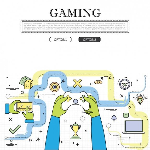 Jogando video games Vetor grátis