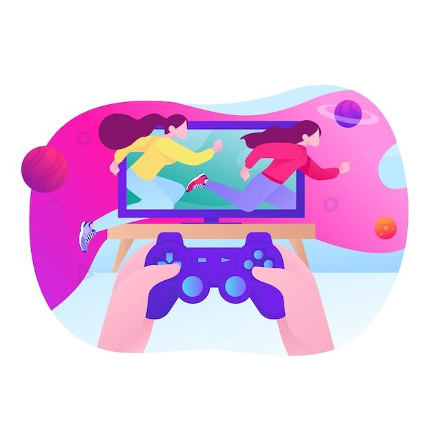 Jogando videogame ilustração Vetor Premium
