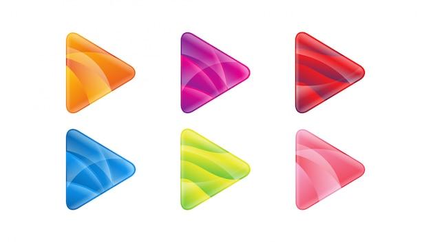 Jogar botão modelo de vetor de ícone de logotipo gradiente brilhante Vetor Premium
