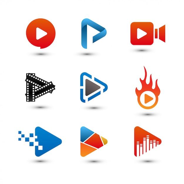 Jogar botão multimídia Vetor Premium
