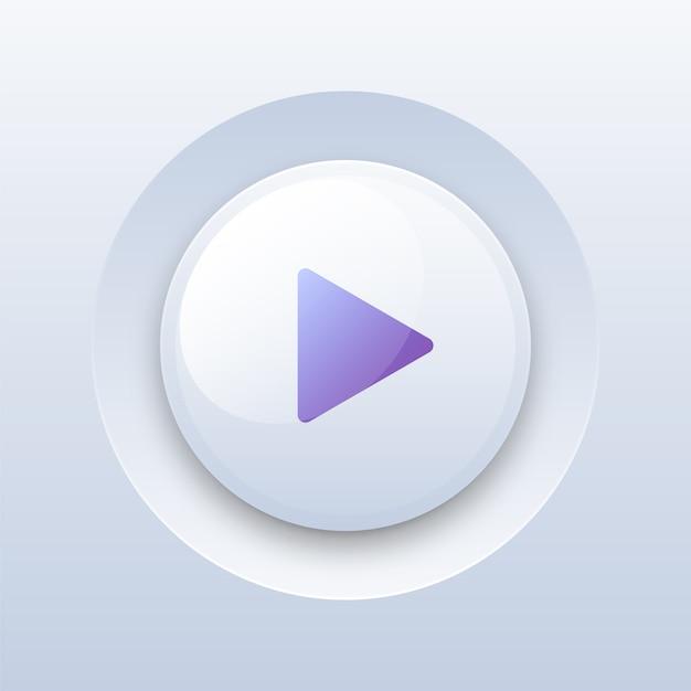 Jogar botão no branco Vetor Premium