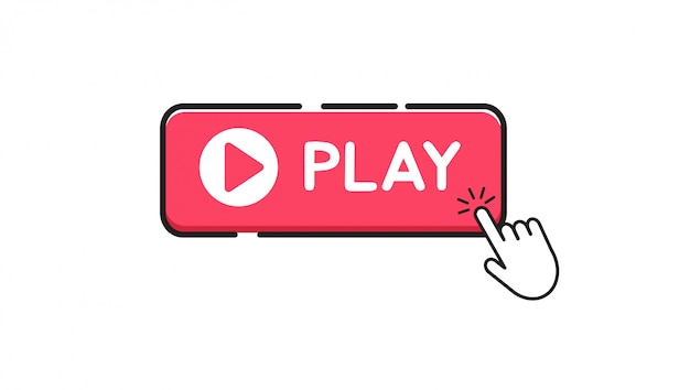 Jogar botão no fundo branco Vetor Premium
