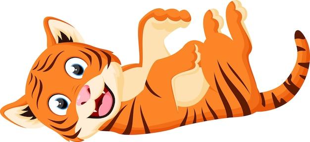 Jogar de tigre feliz dos desenhos animados Vetor Premium