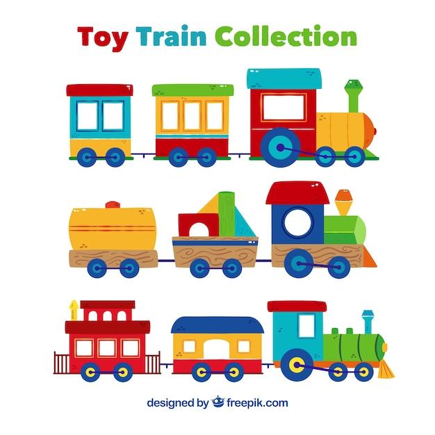 Jogo, colorido, brinquedo, trens, liso, desenho Vetor Premium