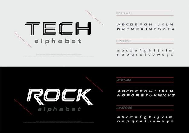 Jogo da fonte das letras do alfabeto da tecnologia do esporte. Vetor Premium