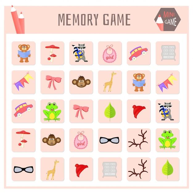 Jogo da memória para crianças, gráficos de mapas de animais Vetor Premium