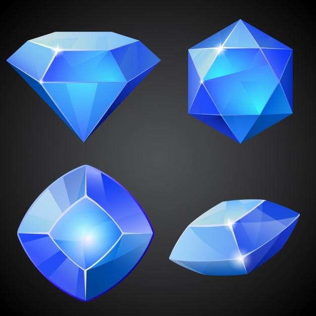 Jogo das gemas azuis do vetor Vetor grátis