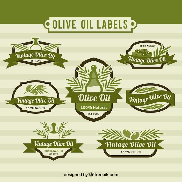Jogo das oliveiras adesivos de petróleo no estilo do vintage Vetor grátis