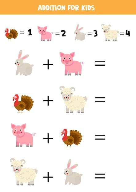 Jogo de adição com animais de fazenda bonitos dos desenhos animados. jogo de matemática para crianças. Vetor Premium