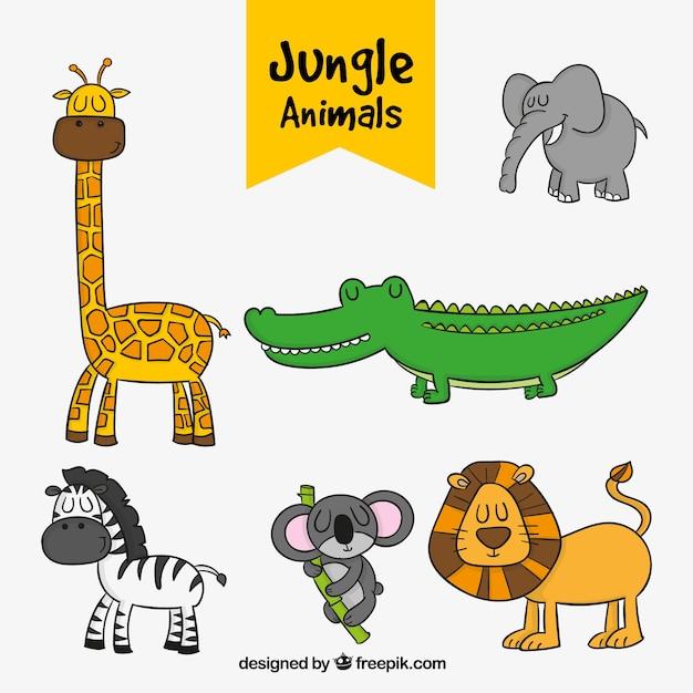 Jogo de animais da selva desenhados à mão Vetor grátis