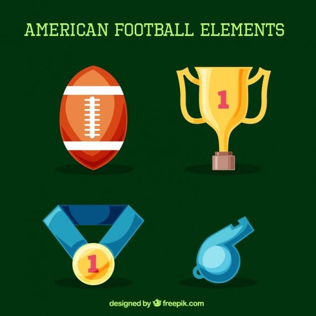 aabdb9bd4 Jogo de artigos de futebol americano coloridas Vetor Premium