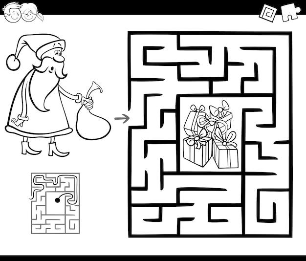 Jogo de atividade de labirinto com papai noel Vetor Premium