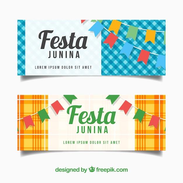 Jogo De Bandeiras Junina De Festa Com Buntings Vetor Gratis