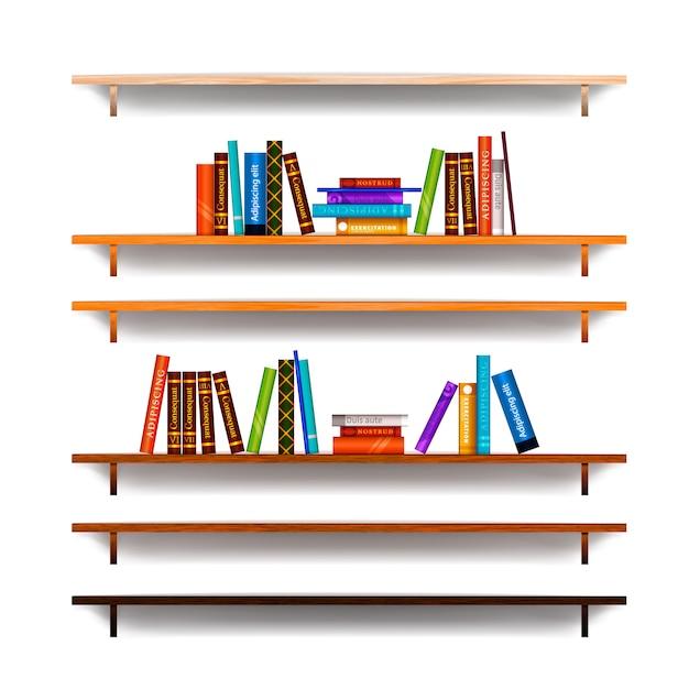 Jogo, de, bookshelves Vetor Premium