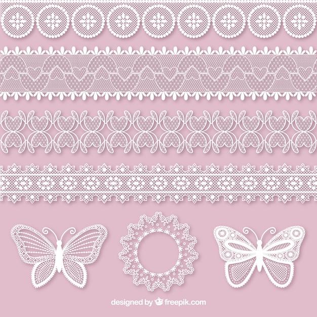 Jogo de borboletas e laço decorativo fronteiras Vetor grátis