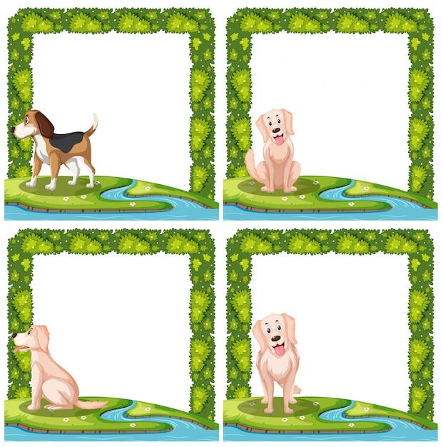 Jogo, de, cachorros, frame, cenas Vetor Premium