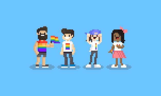 Jogo de caracteres do pixel lgbt dos desenhos animados. 8 bits dia do orgulho. Vetor Premium