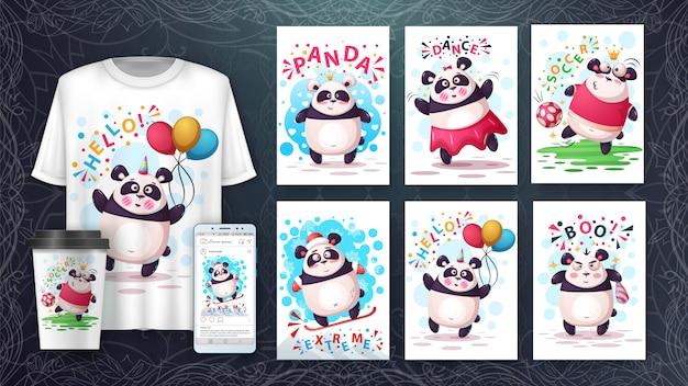Jogo de cartão da ilustração dos desenhos animados da panda e merchandising. Vetor Premium