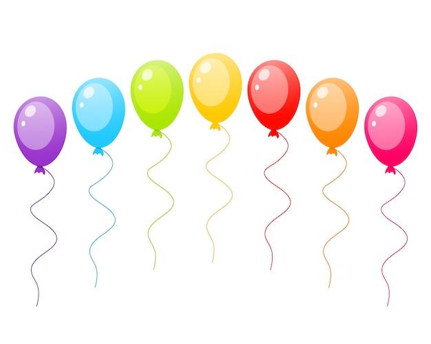 Jogo, de, coloridos, ballons Vetor Premium