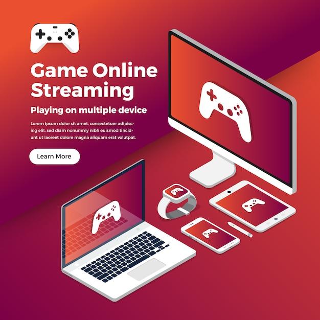 Jogo de conceito de ilustrações streaming de plataforma Vetor Premium
