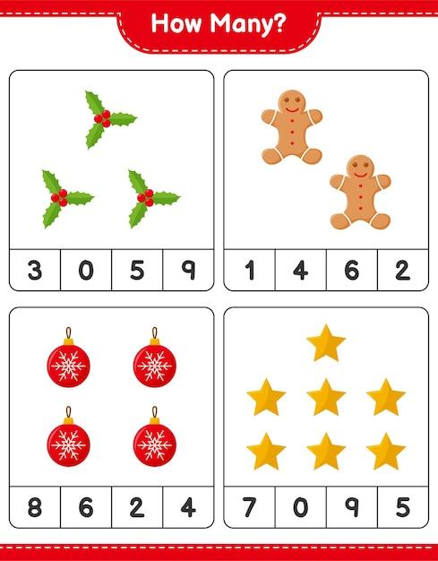 Jogo de contagem, jogo educativo para crianças de decoração de natal, planilha para impressão Vetor Premium