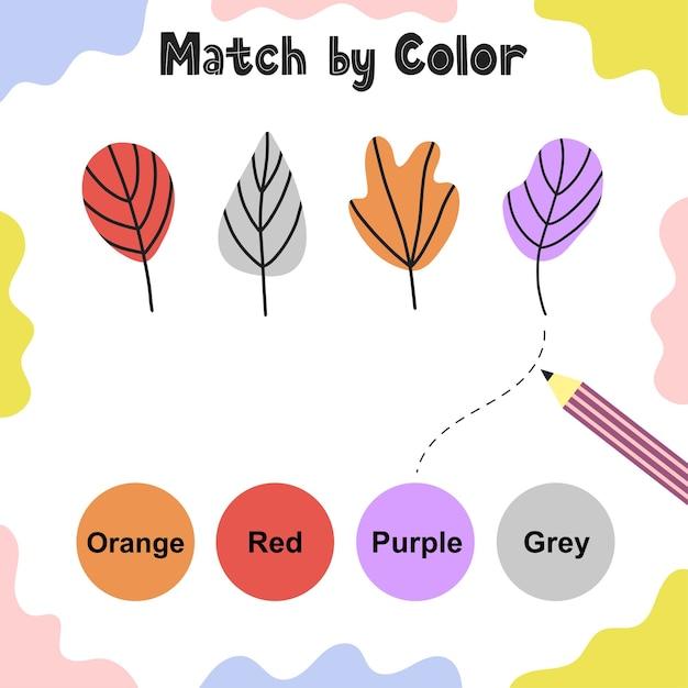 Jogo de correspondência para crianças. escolha as cores corretas para as folhas. página de atividades. aprendizagem de cores planilha educacional para crianças. Vetor Premium