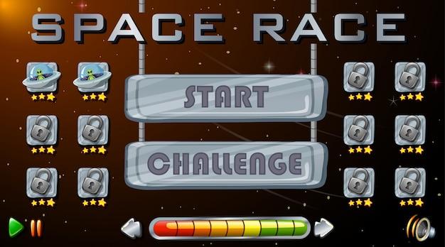 Jogo de corrida espacial Vetor Premium