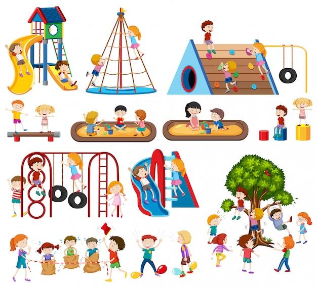 Jogo, de, crianças, em, pátio recreio Vetor grátis