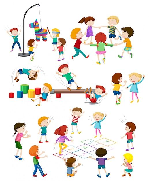 Jogo, de, crianças jogando Vetor grátis