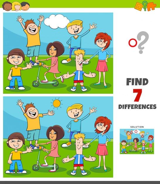 Jogo de diferenças com crianças e adolescentes Vetor Premium