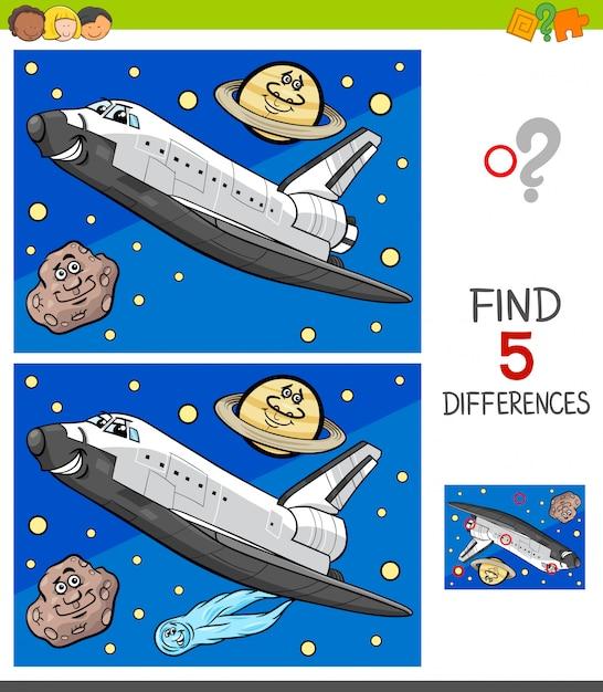 Jogo de diferenças com ônibus espacial Vetor Premium