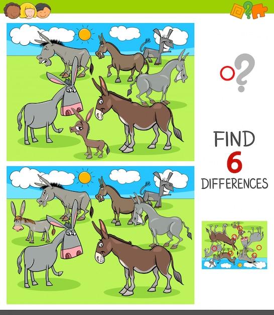 Jogo de diferenças com personagens animais burros Vetor Premium