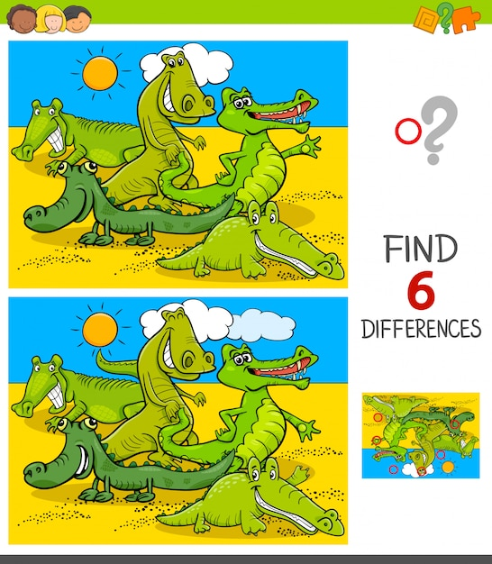 Jogo de diferenças com personagens animais de crocodilos Vetor Premium