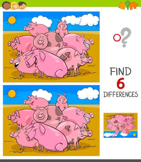 Jogo de diferenças com personagens animais de porcos Vetor Premium