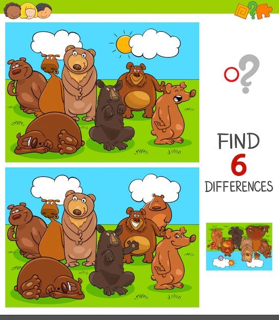 Jogo de diferenças com personagens animais de ursos Vetor Premium