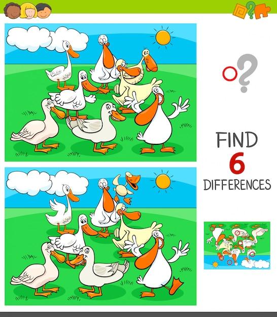 Jogo de diferenças com personagens de patos Vetor Premium