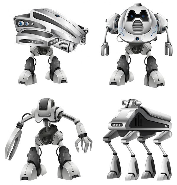 Jogo, de, diferente, robôs Vetor grátis
