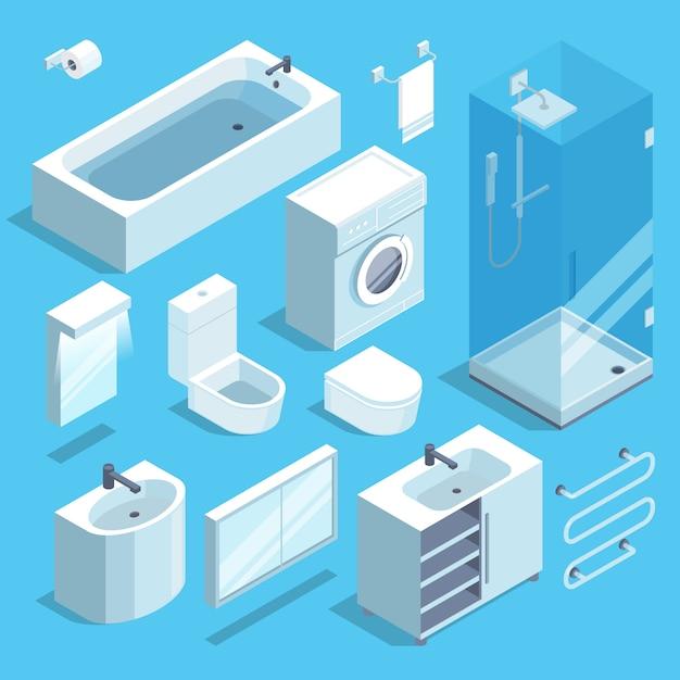 Jogo de elementos isométrico da mobília do interior do banheiro. ilustração vetorial Vetor Premium