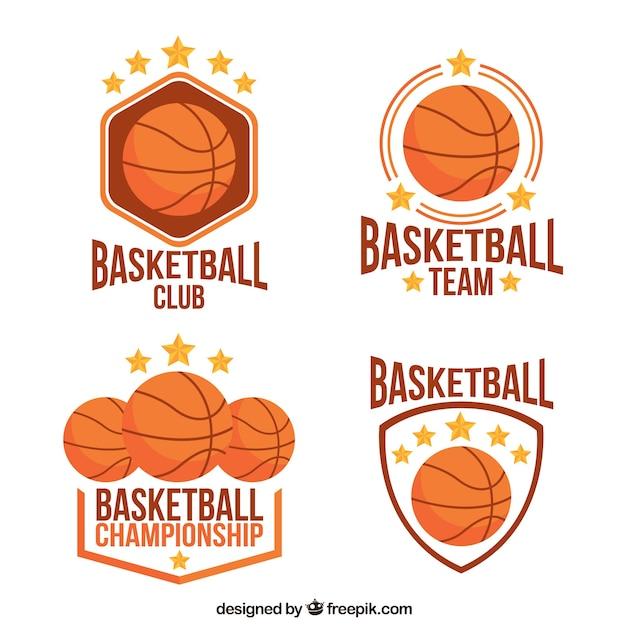 Jogo de emblemas de basquete Vetor grátis