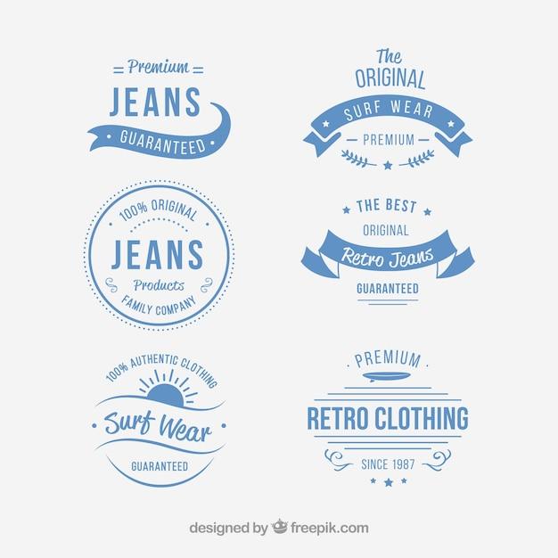 Jogo de emblemas de roupas vintage Vetor grátis
