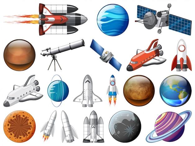 Jogo, de, espaço, objetos Vetor grátis