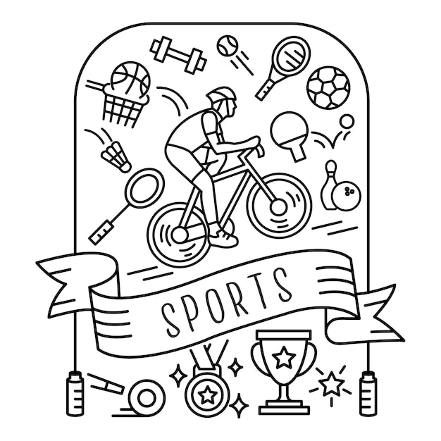 Jogo, de, esportes, ícones Vetor Premium