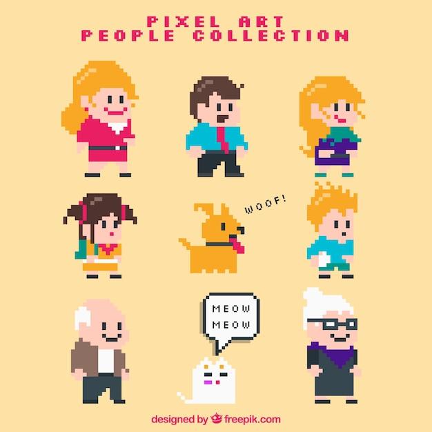 Jogo de família pixelizada com animais de estimação Vetor Premium
