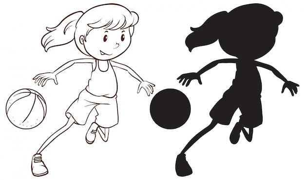 Jogo, de, femininas, jogador basquetebol Vetor grátis