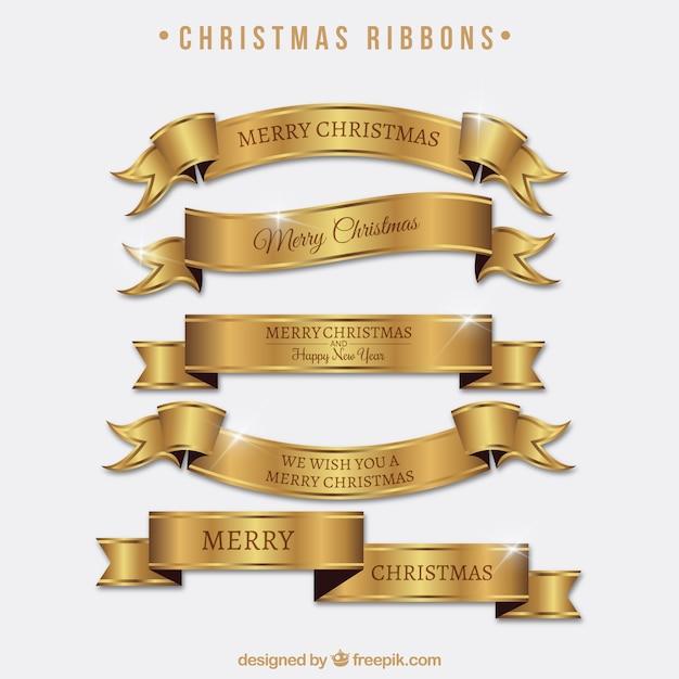 Jogo de fitas douradas brilhantes de feliz natal Vetor grátis