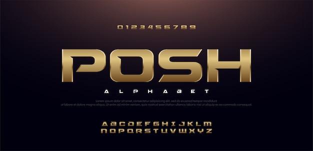 Jogo de fonte elegante do alfabeto do metal do ouro do esporte elegante. Vetor Premium