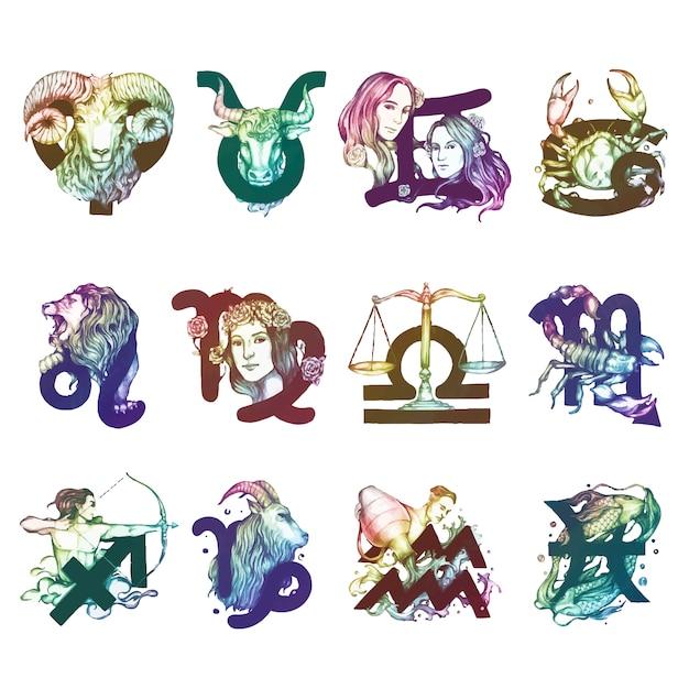 Jogo, de, horóscopo, símbolos, ilustração Vetor grátis