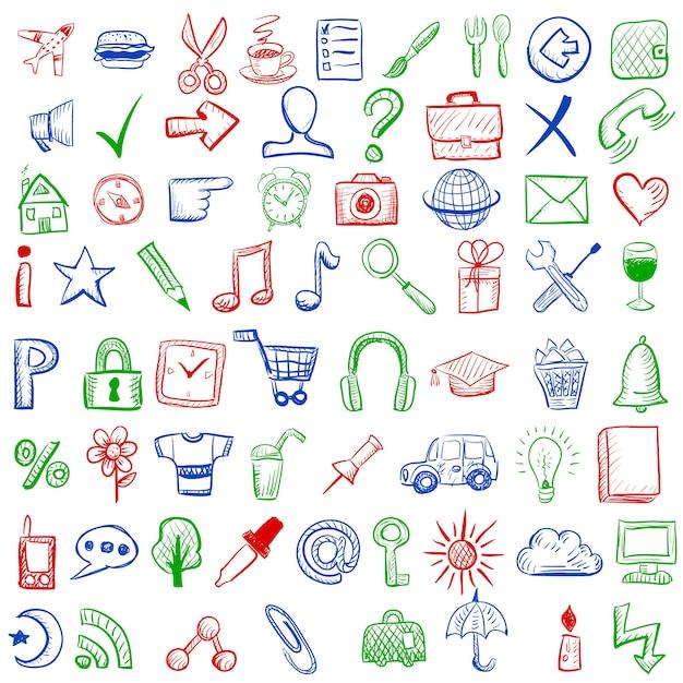 Jogo de ícones do esboço para o site ou aplicativo móvel Vetor grátis